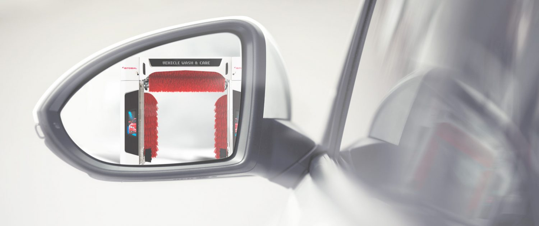 avtopralnica v ogledalu